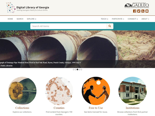 Digital Library of Georgia homepage image