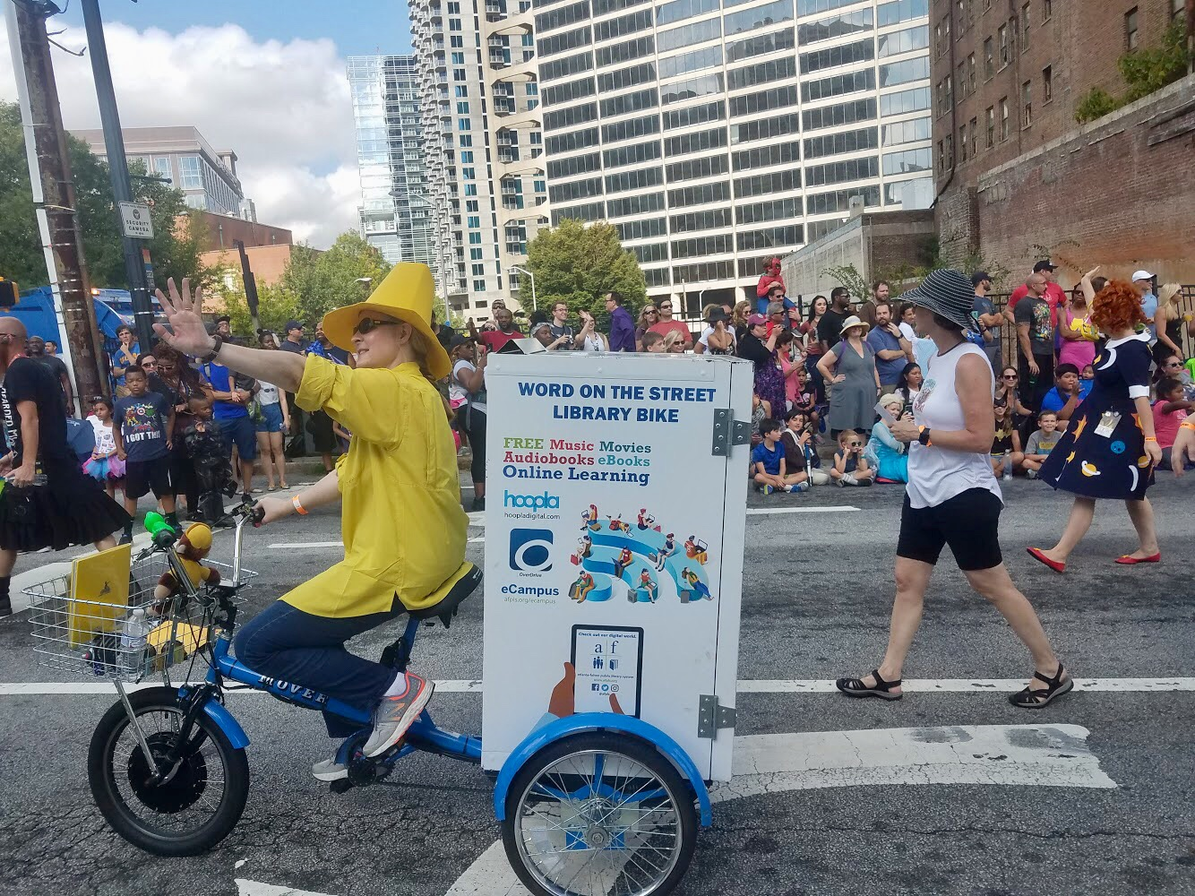 Photograph of Library bike in DragonCon Parade.